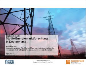 Studiensteckbrief Studie Energiemarktforschung in Deutschland